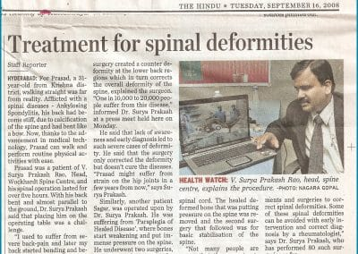 Treatment for Spinal Deformity Explained by Dr Surya Prakash Rao Voleti, Top Spine Surgeon in Hyderabad