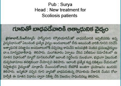 Read now how Dr Surya Prakash Rao, No 1 Orthopaedic Spine Surgeon Hyderabad, Helped this Patient with Best Scoliosis Correction Treatment
