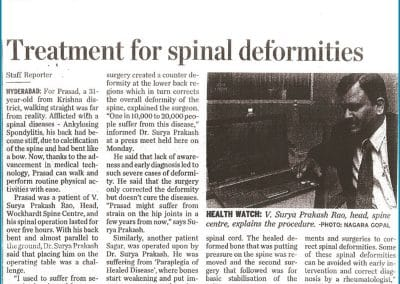 Get now Best Treatment for spinal deformity by Orthopaedic Surgeon Dr Surya Prakash Rao