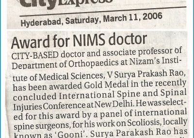 Award for Dr Surya Prakash Rao for his Scoliosis Surgeries in India