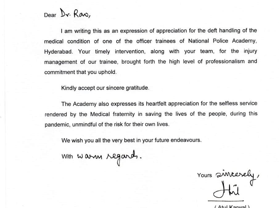 National Police Academy appreciation letter
